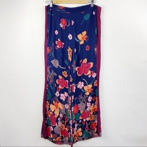 Anthropologie High rise floral wide leg pants